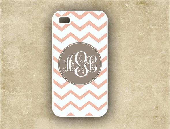 iPhone 4 case - Chevron or zigzag pattern, monogram pink and white chevron, iPhone case 4 and 4s, iPhone cover (9705)