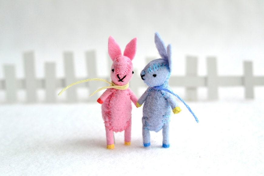 Mini Spring Bunny - blue miniature pastel felt rabbit by mountroyalmint