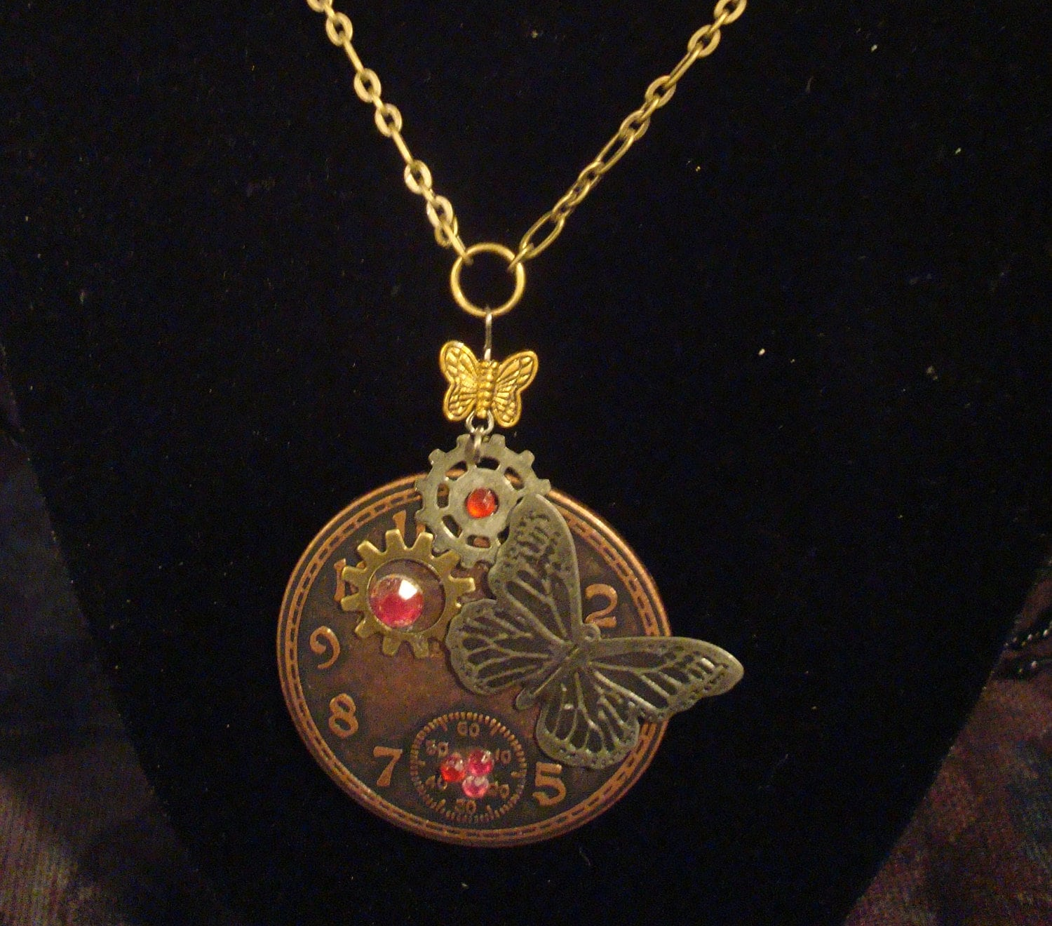 Steampunk butterfly vintage look necklace with clock face on chain