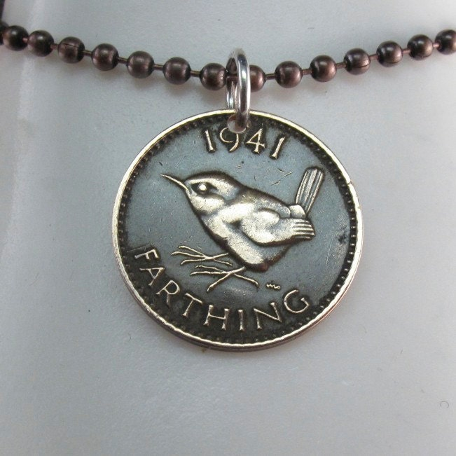 wren coin necklace wren jewelry farthing by