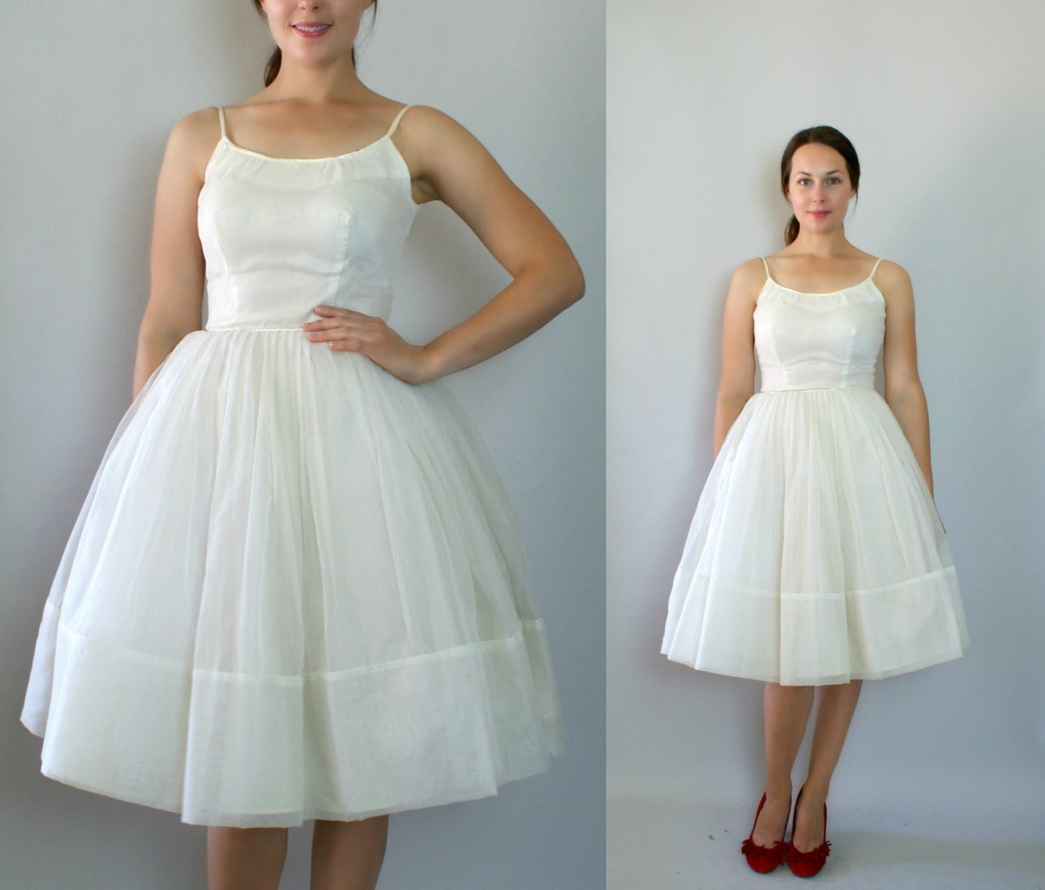 Sale vintage 1950s wedding dress full skirt by sweetbeefinds for 1950s style wedding dresses for sale