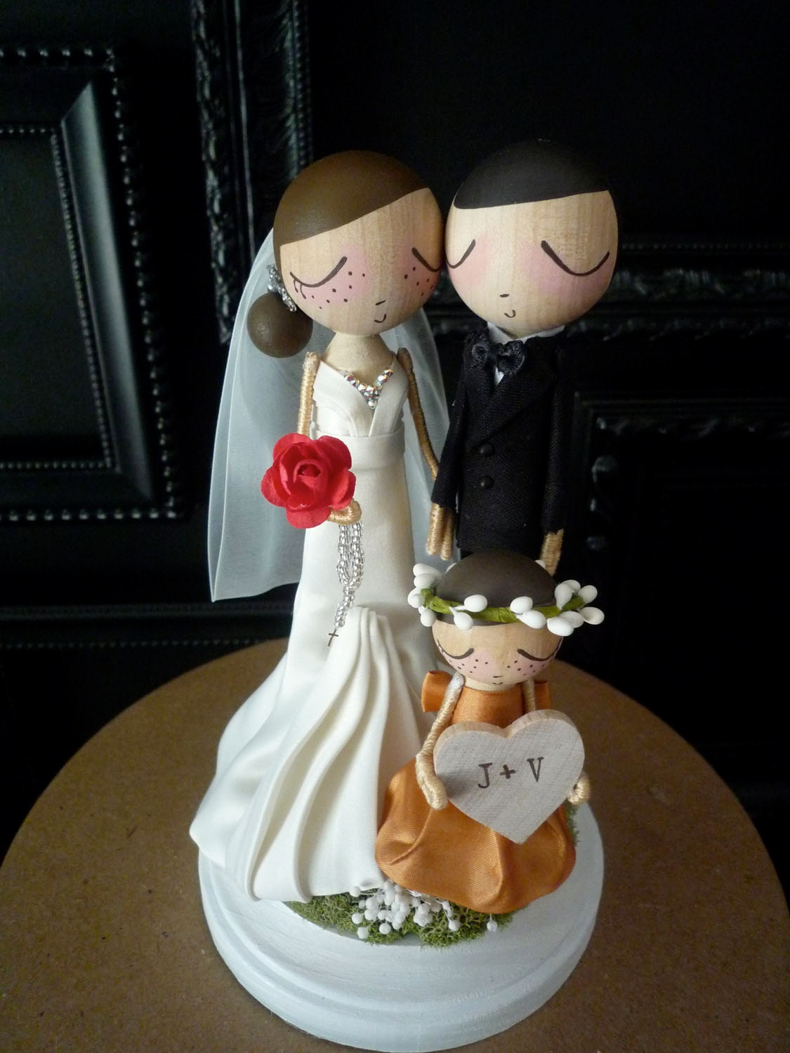 Items Similar To Family Wedding Cake Topper With Custom Wedding Dress And One Child Custom