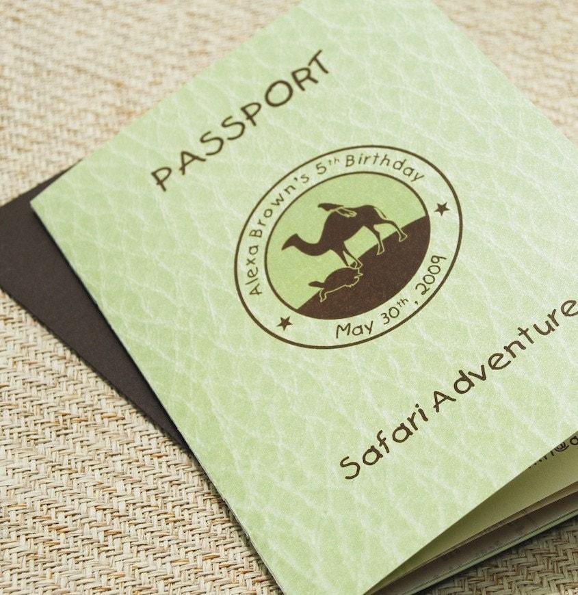 Safari Adventure Passport in Green and Brown (Kid's Birthday) - Design Fee - beyonddesign