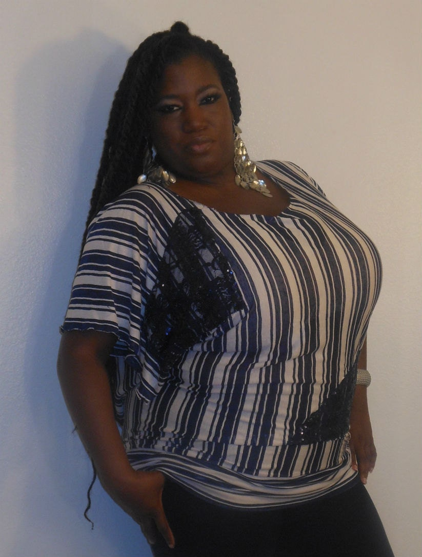 Maggie - Posh N Petals Navy Blue and White  Knit  and Lace Sequin  Embellished Blouse - XL  - 1X - 2X Plus Size