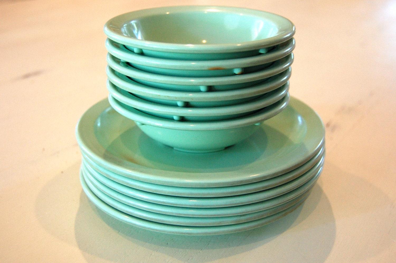 Vintage Dallas Ware Mint Green Melamine Melmac Dessert Plates and Bowls