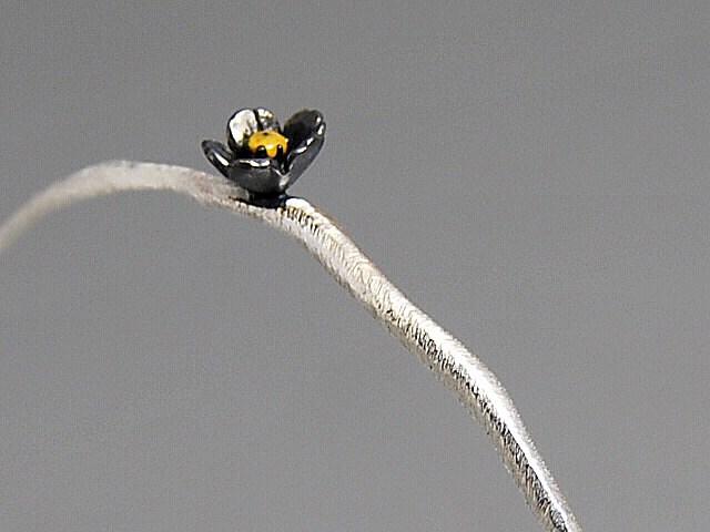 Flower Bangle Bracelet Pendant Organic Natural Texture Sterling Black Orchid Flower Yellow Pollen Spring Blossom Elegant Gift Multipurpose - thisandthatgallery