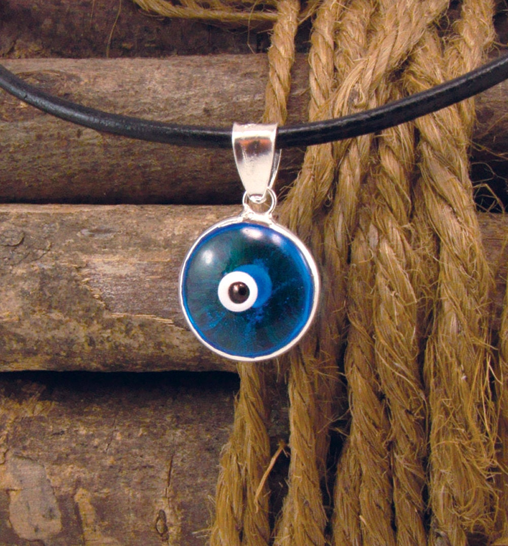 Blue Evil Eye Protection Necklace Greek Mati Hamsa Nazar 925 Sterling Silver Pendant Charm 12mm on Black Leather