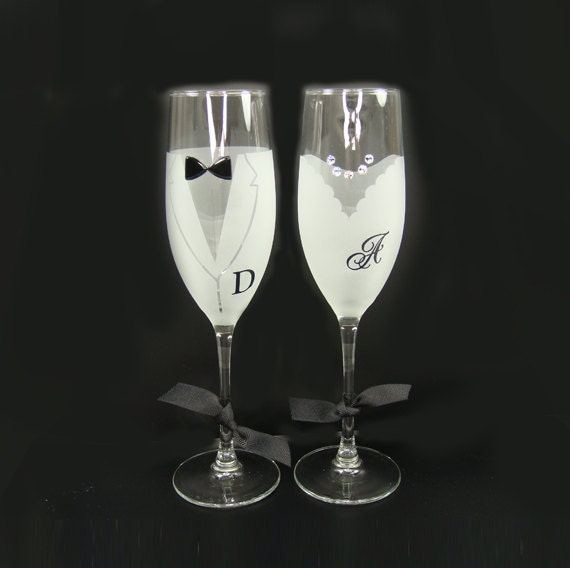 Items Similar To Champagne Glass Set With Vinyl Decal