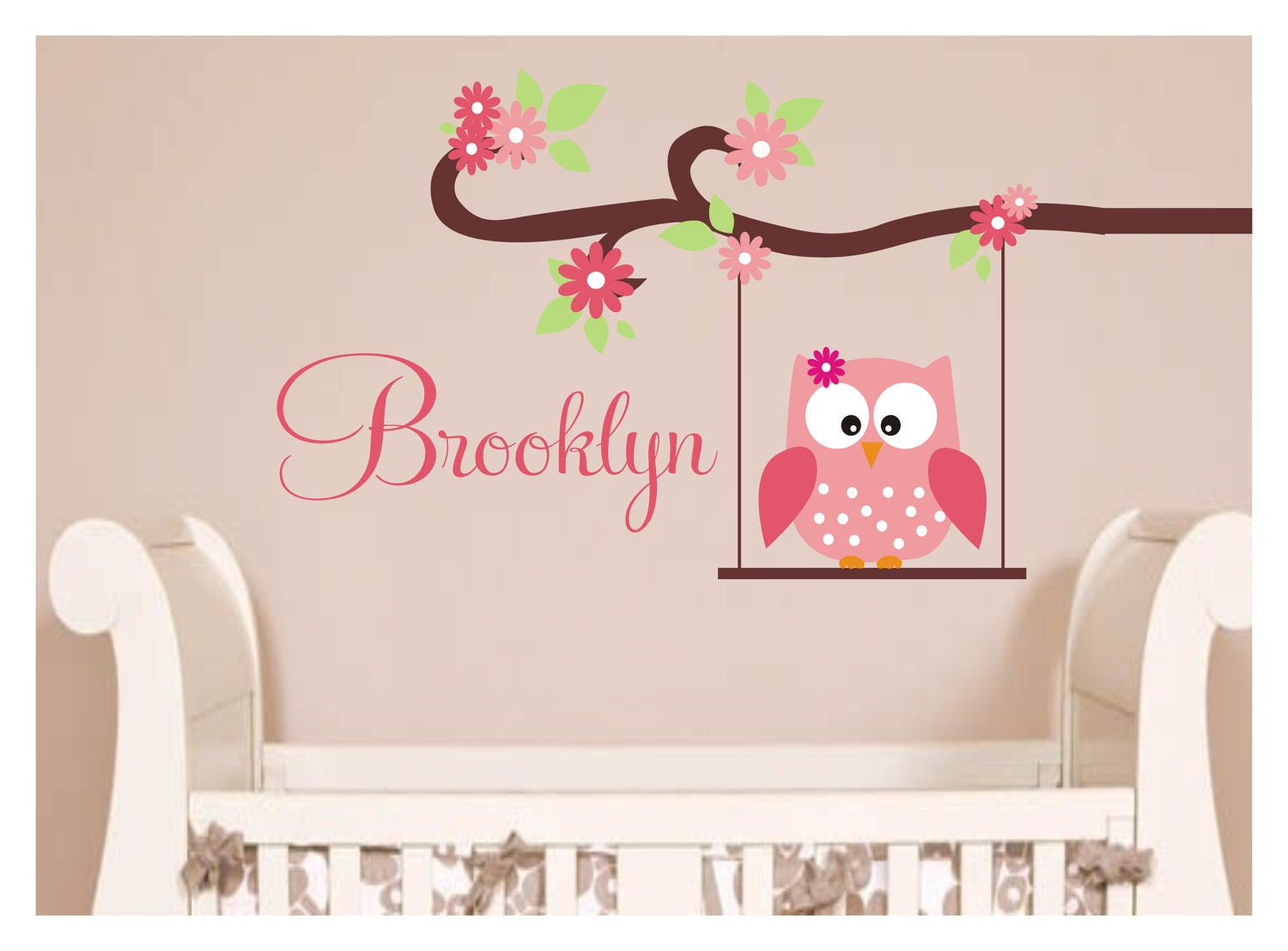 Owl Design Wall Stickers : Owl decal monogram childrens wall decals by justthefrosting