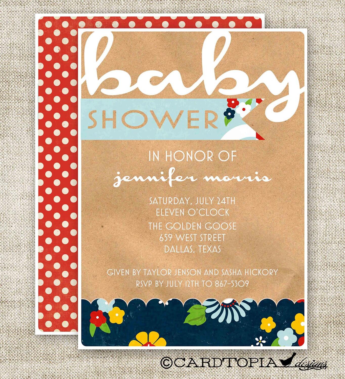 gender neutral baby shower invitations kraft paper folk blue with red