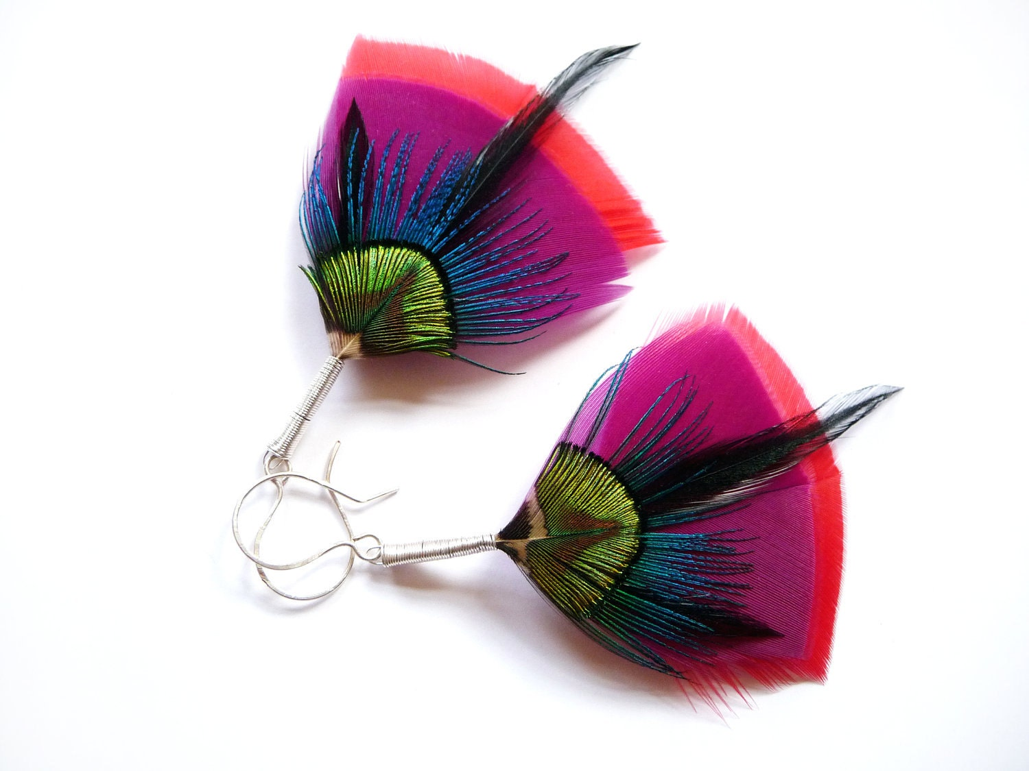 Art Deco Feather Earrings in Red, Purple, Electric Blue and Lime Green - Stilltreejewellery