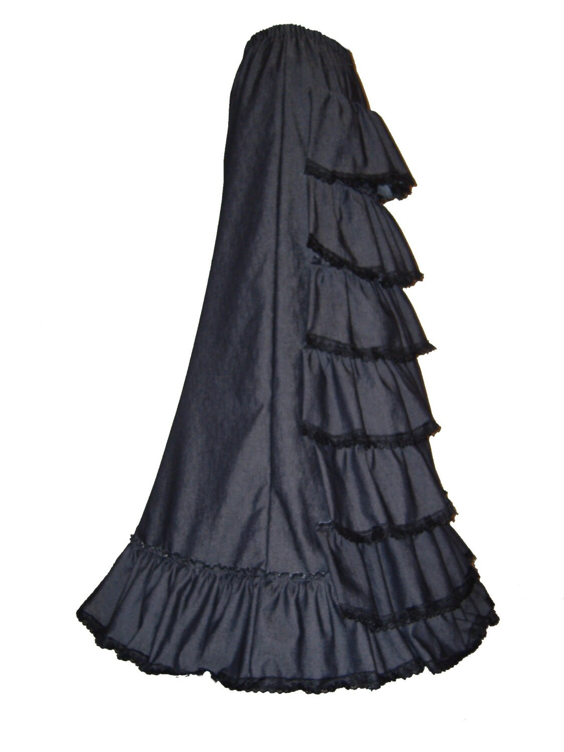 STEAMPUNK BUSTLE SKIRT victorian long gothic skirt steampunk full length skirt victorian dress 1900 costume made to order size 18  20