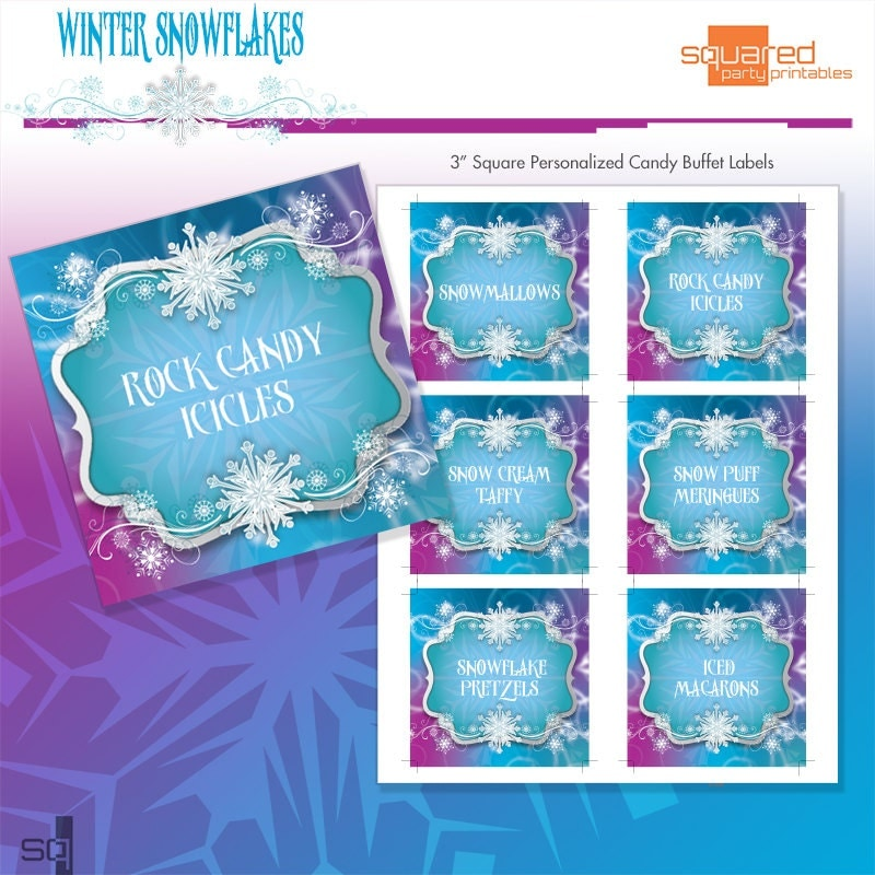 """Frozen Ice Winter Snowflakes Printable 3"""" Birthday Party Candy Buffet ..."""