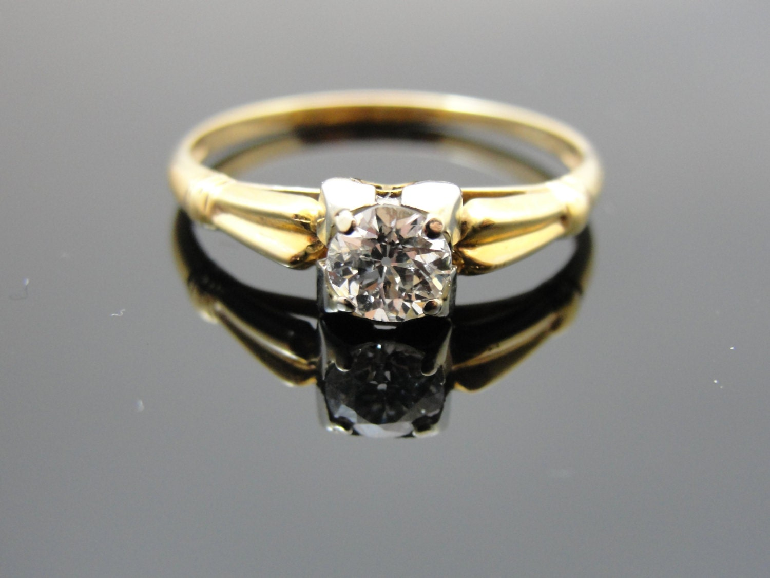 Antique Mine Cut Diamond 14K 1940s Engagement Ring by MSJewelers