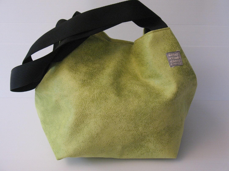 lime green shoulder bag, autumn bag,  purse, cube shaped green hobo with  black  shoulder straps,  statement bag, extravagant colors - LIGONbyRuthi