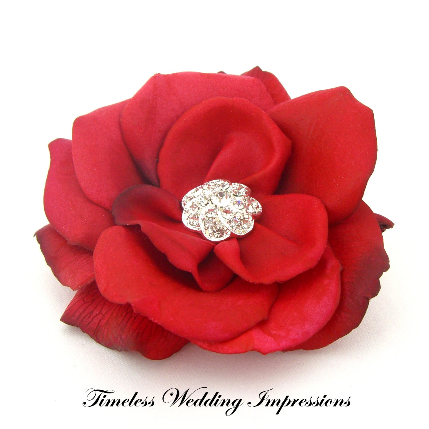 Real Flower Bridal Hair Accessories : Items similar to red hair flower wedding real touch rose