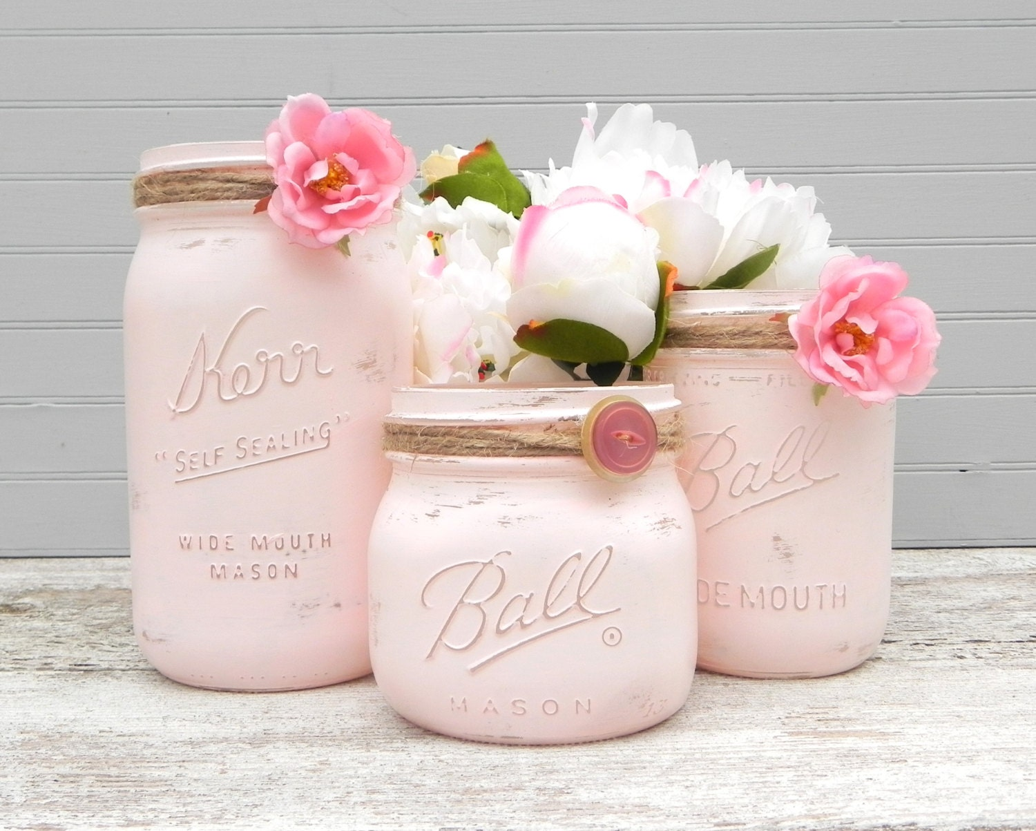 Shabby Chic Pink Mason Jars, Painted Mason Jars, Mason Jar Vases, Jars for Gifts, Weddings, Showers, Decor - GlassCastle2