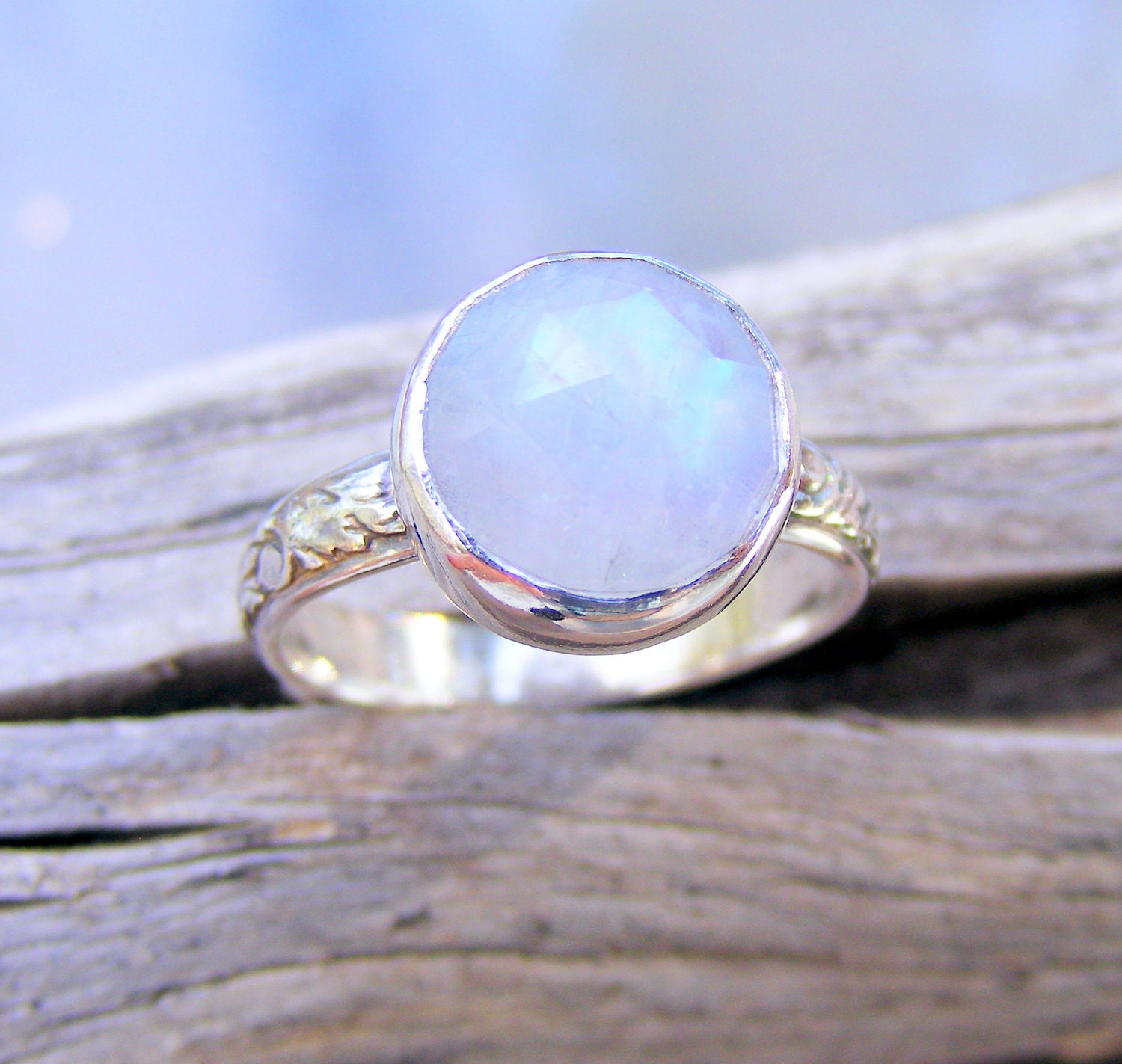 Faceted Moonstone Ring Rainbow Moonstone Ring Recycled