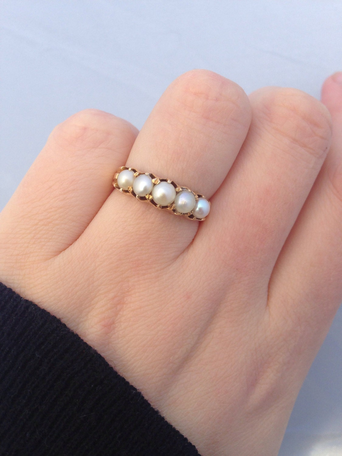 Antique  Victorian Gold and Pearl Ring  Size UK P or US 7.5