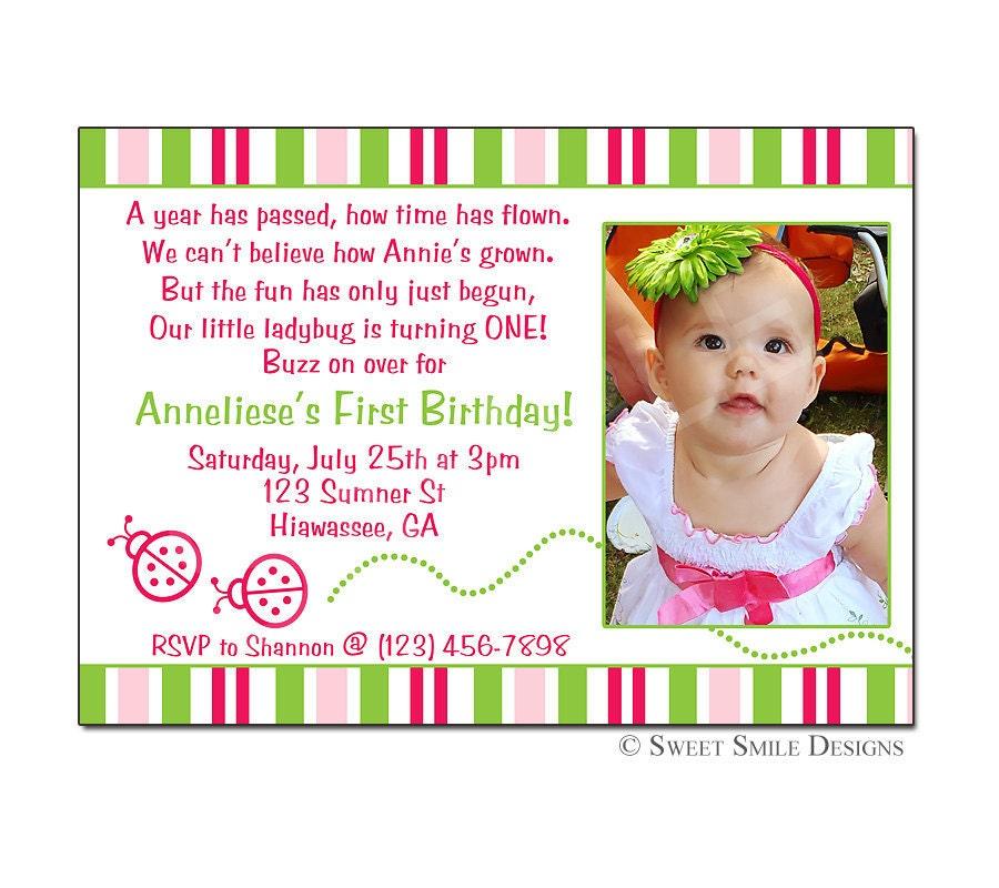 Items similar to Photo Birthday Invitation Ladybug, Printable Digital File, 1st 2nd 3rd 4th ...