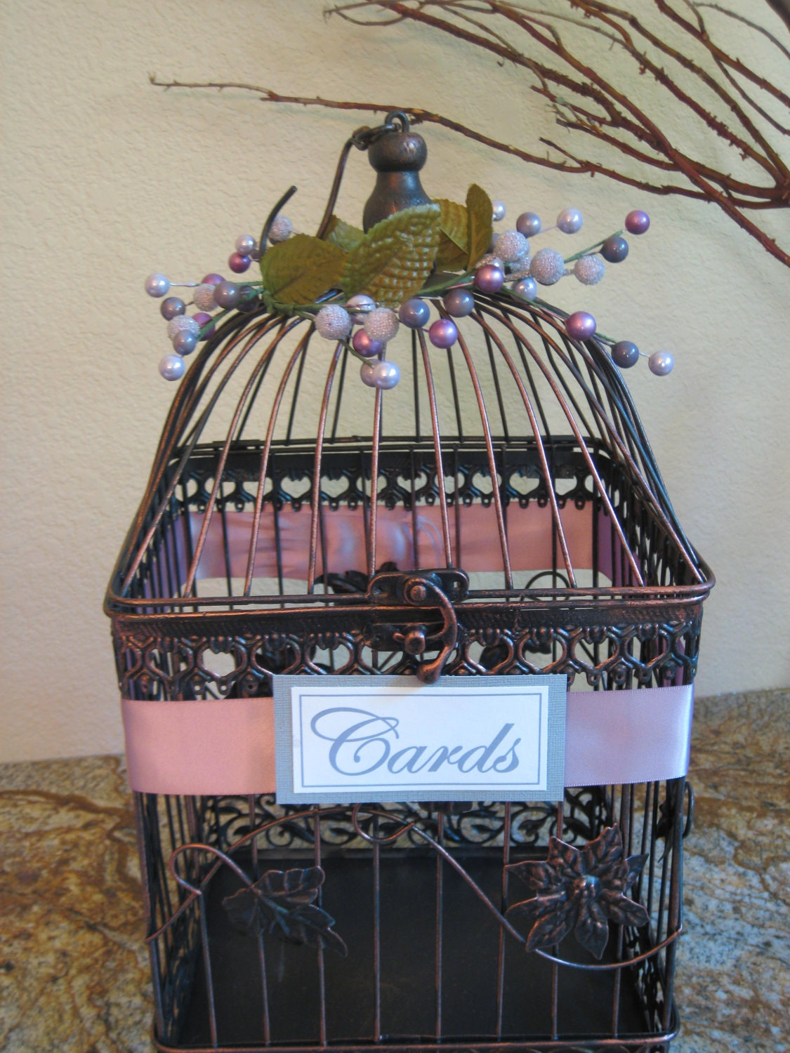 large vintage style bird cage wedding card holder by kraftycounsel. Black Bedroom Furniture Sets. Home Design Ideas