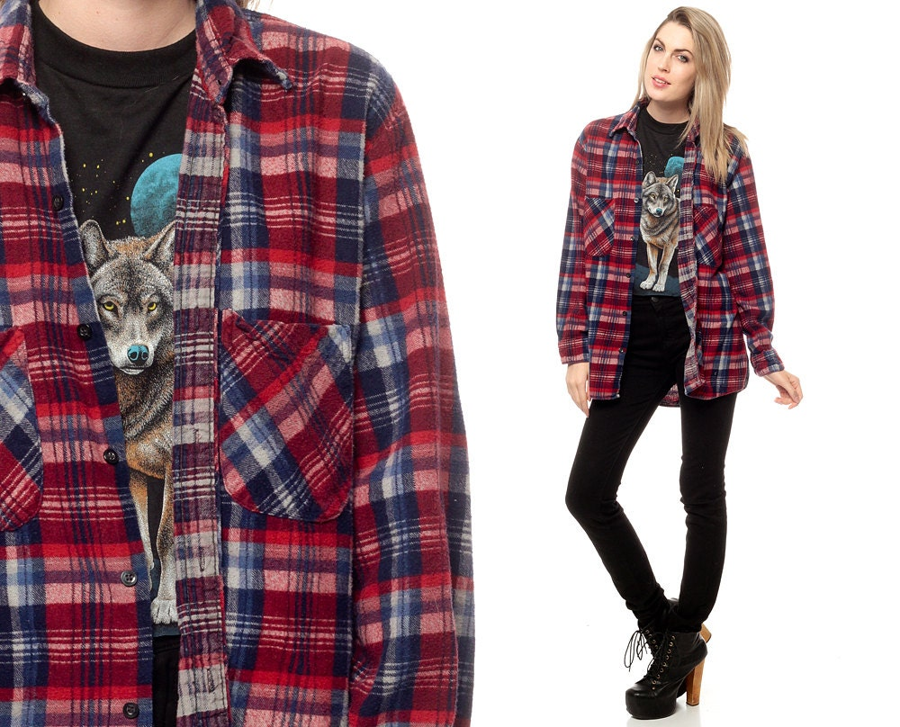 Oversized plaid shirt 90s flannel red navy blue white by for Navy blue and red flannel shirt