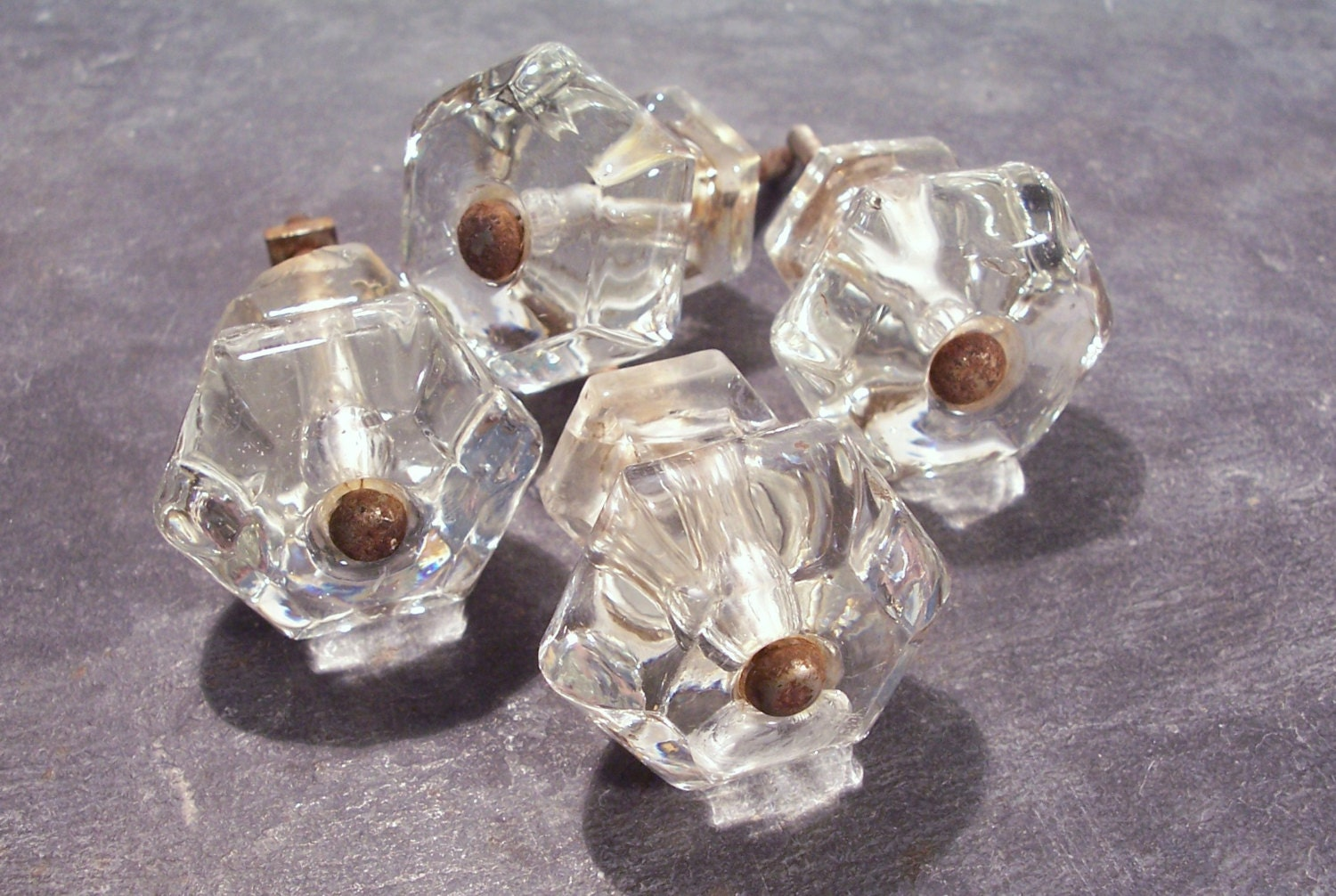VINTAGE Antique GLASS Drawer Knobs Pulls Four 4 Glass By Punksrus