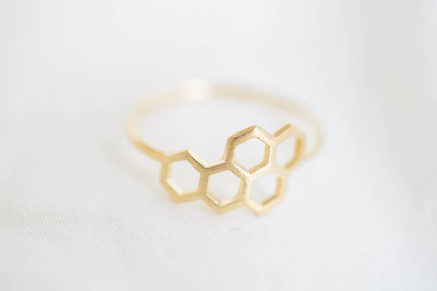 royal jelly ring,Jewelry ,Ring,hexagon,hexagonal ring,geometric,modern,royal jelly,minimalist,5 hexagon ring,tiny hexagon,unique ring ,R232N - LETTERSEARRING
