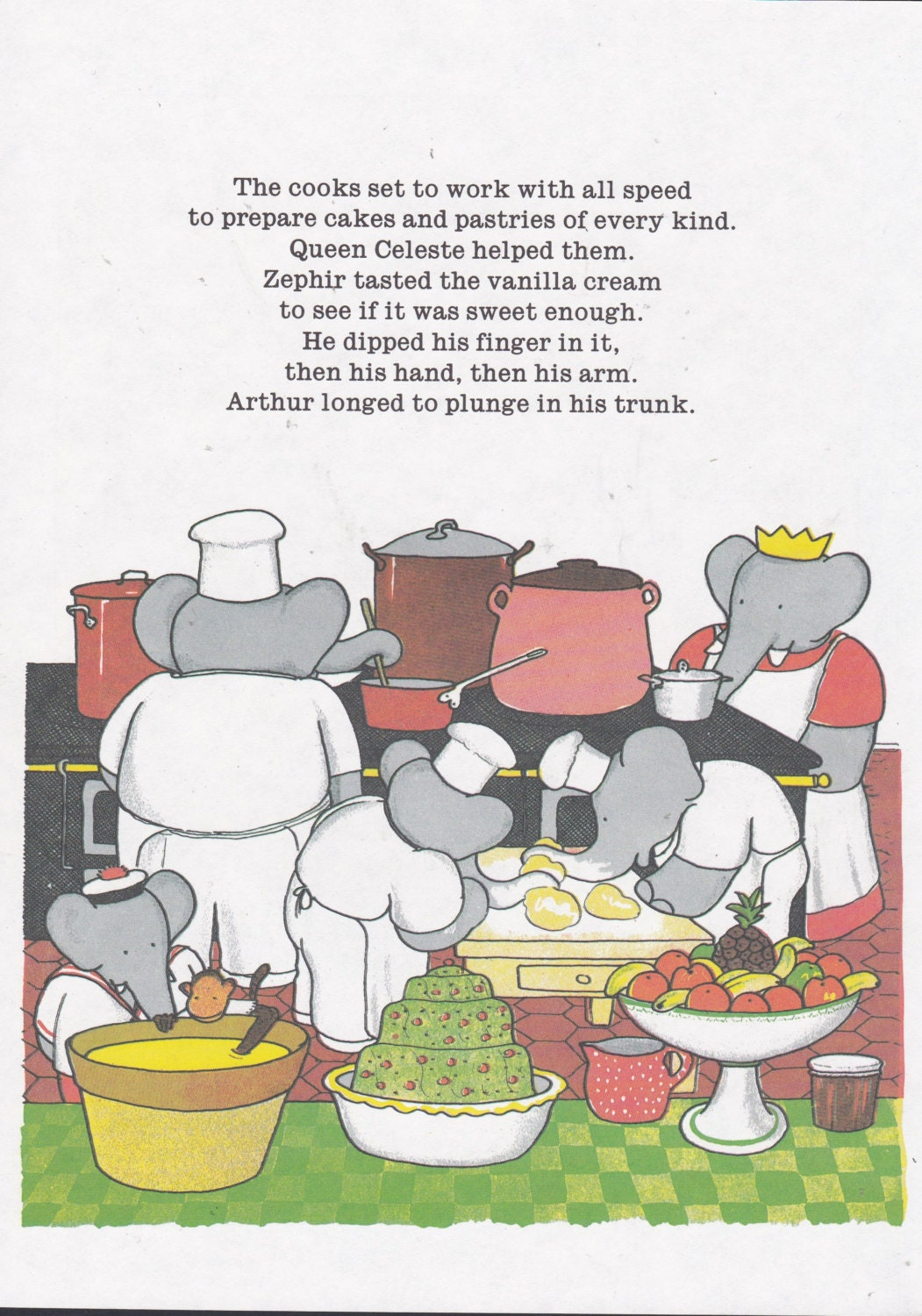 Babar the Elephant. Elephants Cook For Garden Party. Vintage Print Ready for Matting and Framing. Ideal for Nursery Decor. Jean de Brunhoff