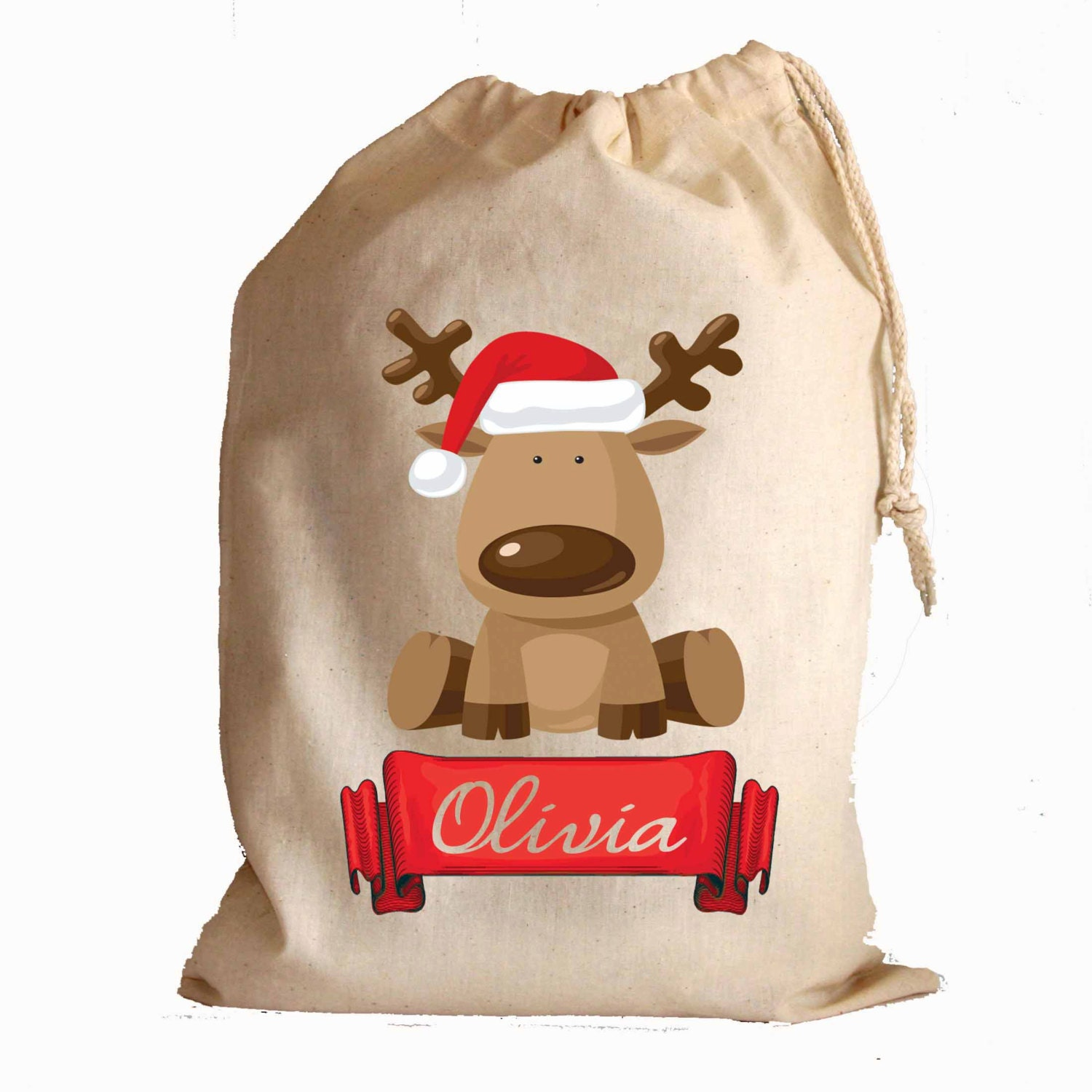 Christmas cotton drawstring gift bags and santa sack stocking Cute Reindeer with banner personalise with any name - MikesRevivals