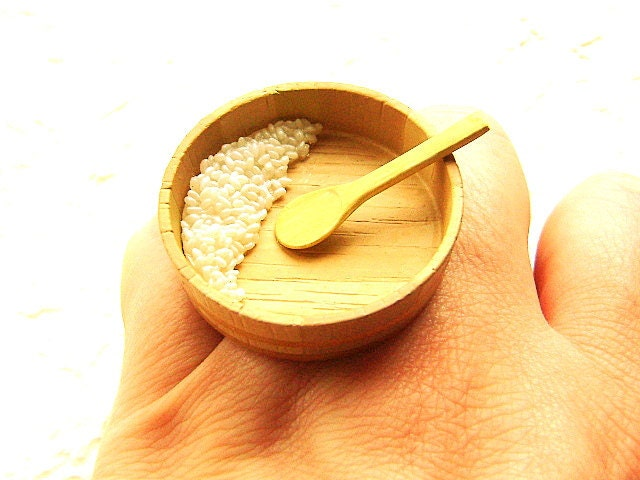 Making Sushi Rice Wood Bowl And Spoon  Ring