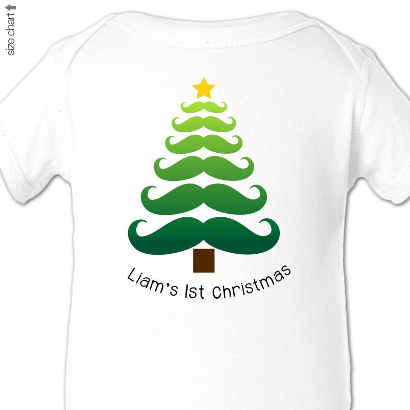 Baby boy first Christmas moustache design Christmas tree shirt or bodysuit - zoeysattic