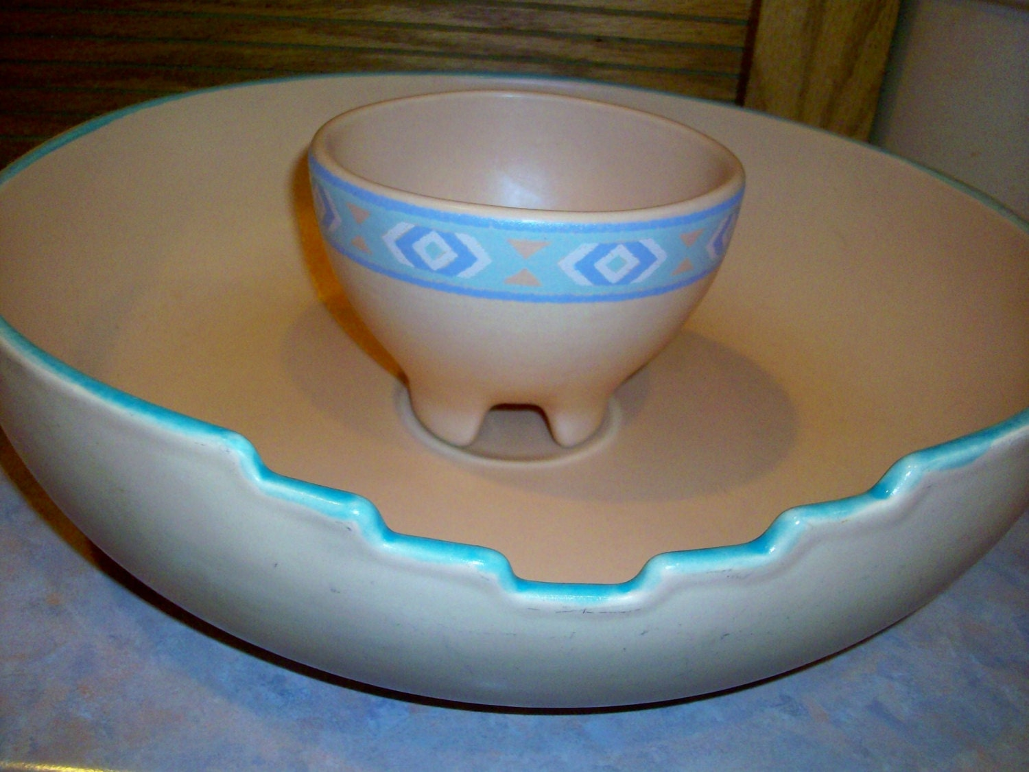 Treasure Craft Southwest Chip And Dip Bowl Set By