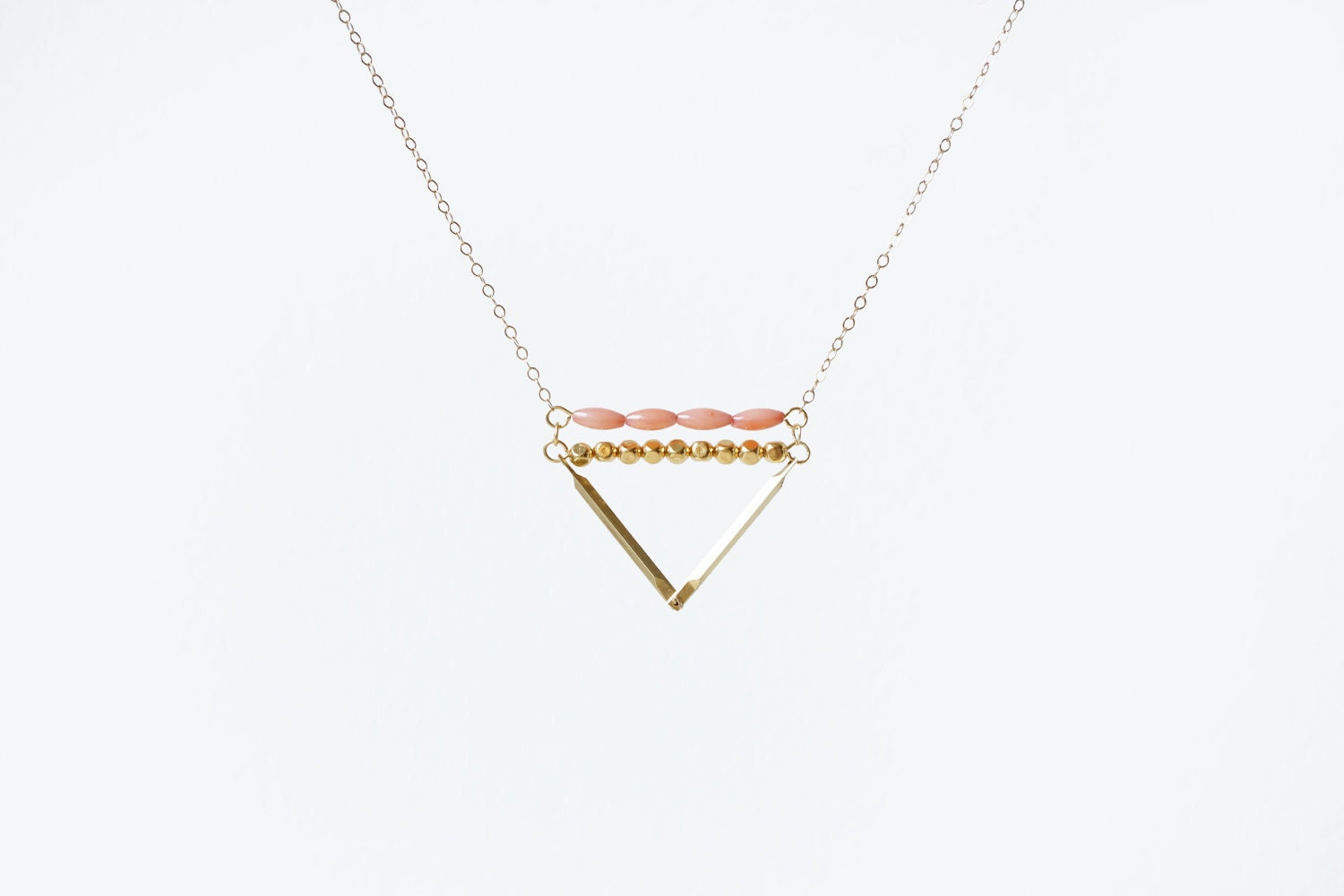 Coral & Brass Triangle - 14k Gold Filled Chain - MadeByMaru