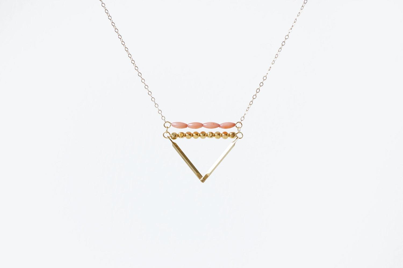 Coral & Brass Triangle - 14k Gold Filled Chain - MadeByMaru