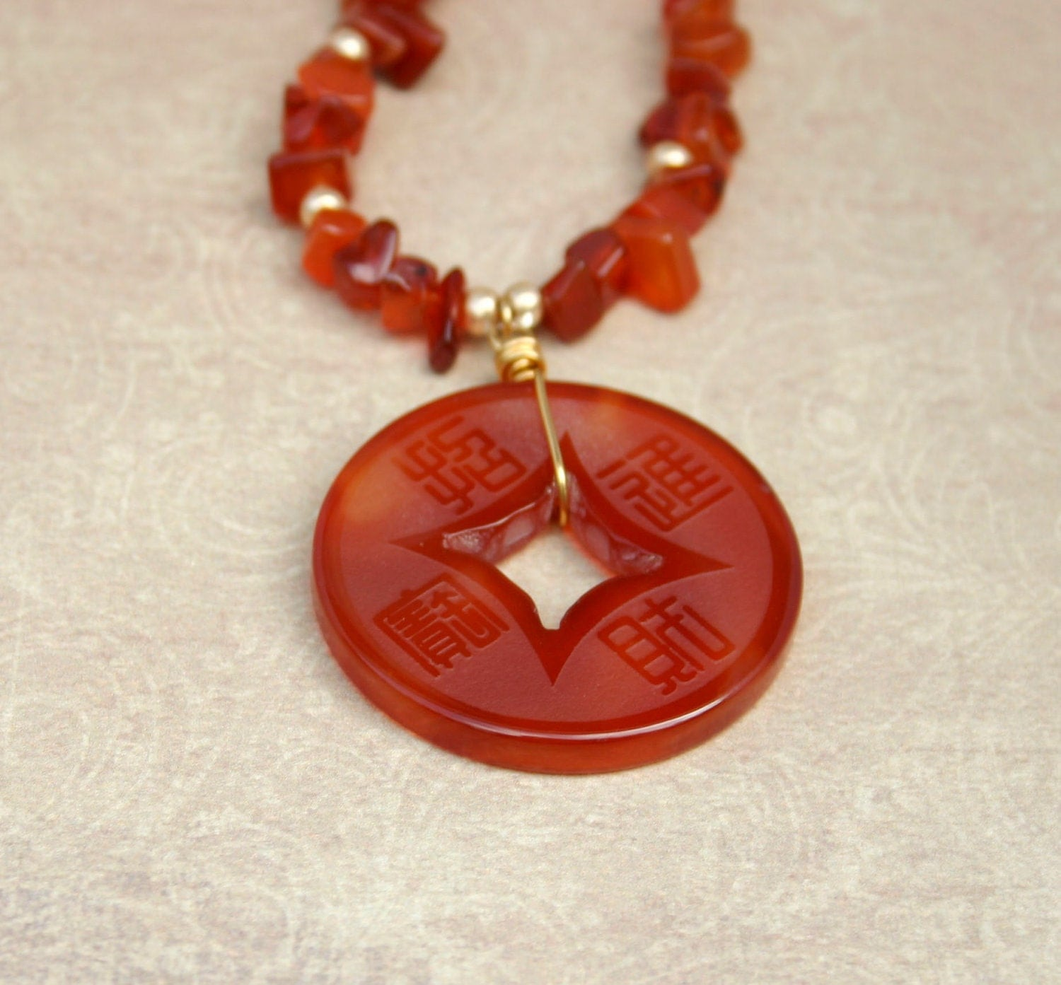 Carnelian necklace with Asian style carnelian coin pendant - Drakestail