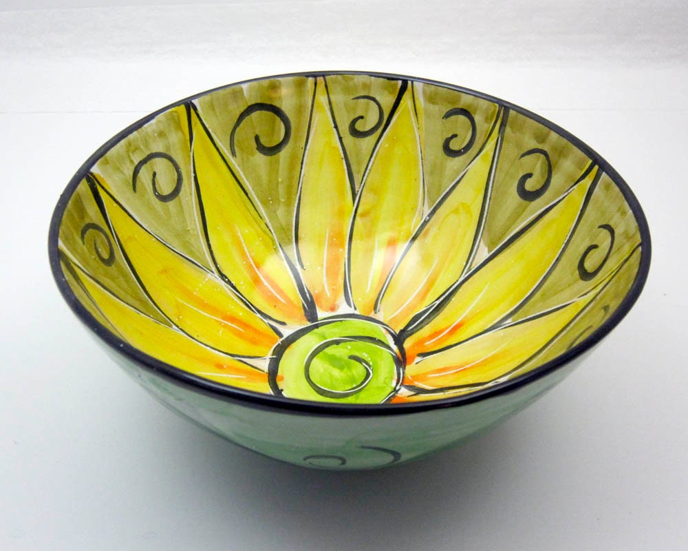 Serving bowl clay majolica pottery kitchen yellow sunflower on