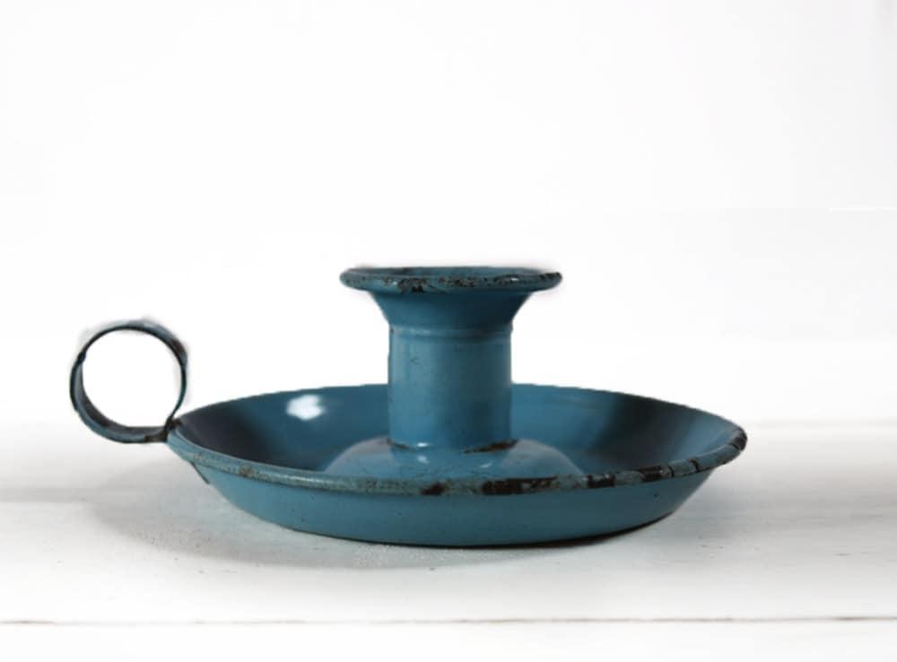 Nostalgic vintage  BLUE Enamel CANDLE Holder SHABBY Chic - RueDesLouves