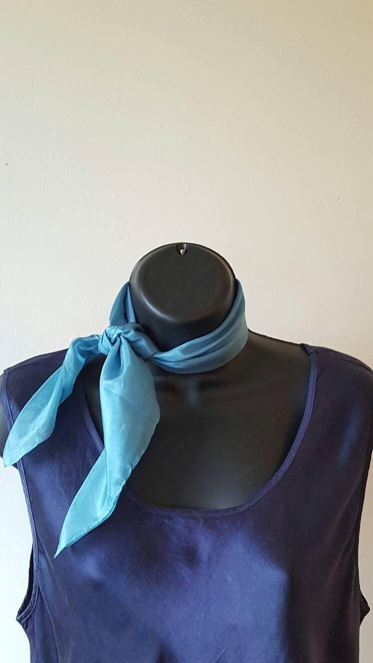 Sea Blue Pure Silk Square pocket square head scarf neck tie handbag tie neckerchief (063)