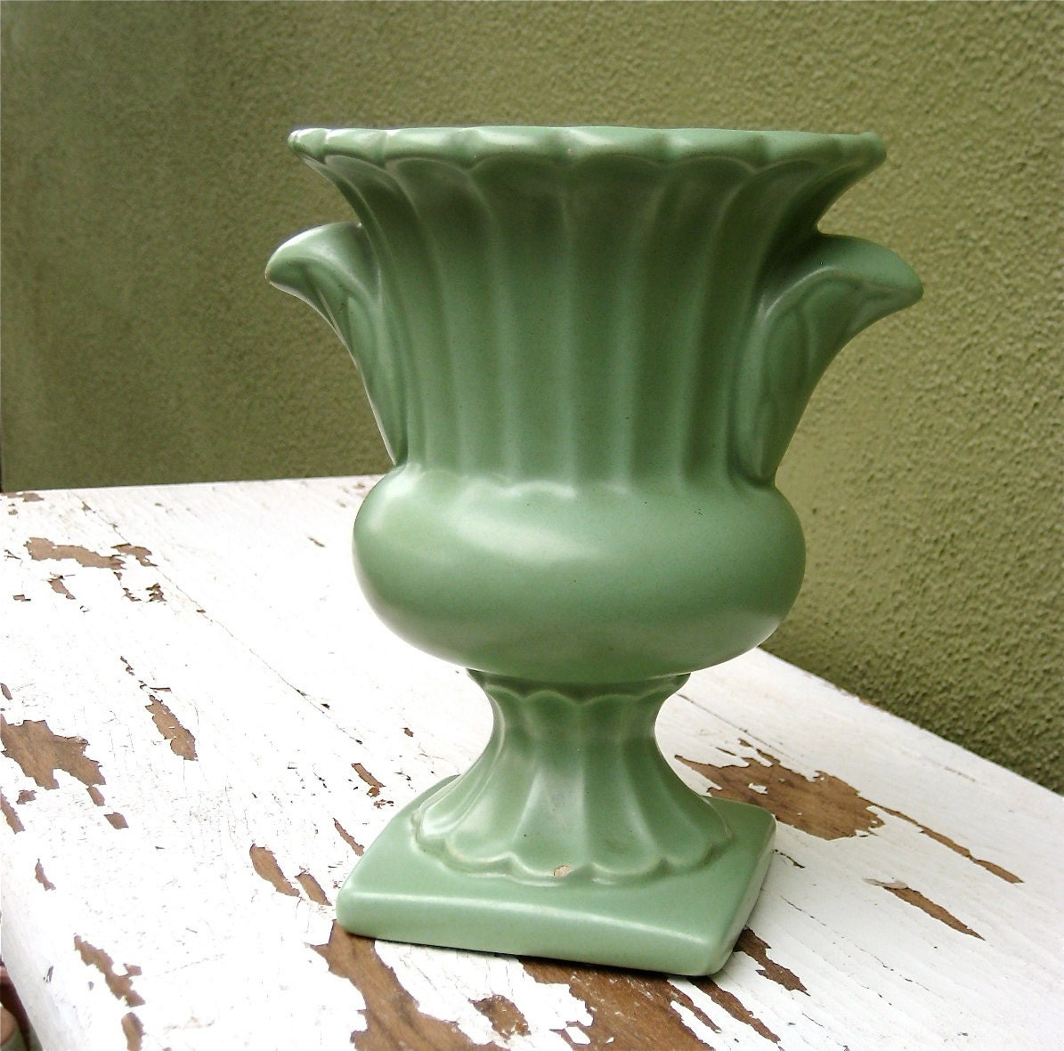 Lovely Vintage Sage Green Pottery Vase
