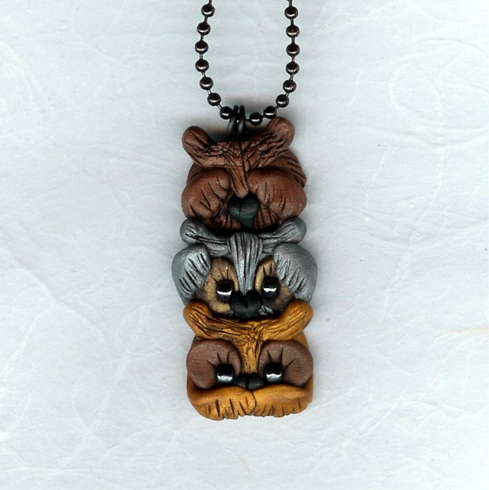 See Hear Speak No Evil Owls Necklace Polymer Clay By