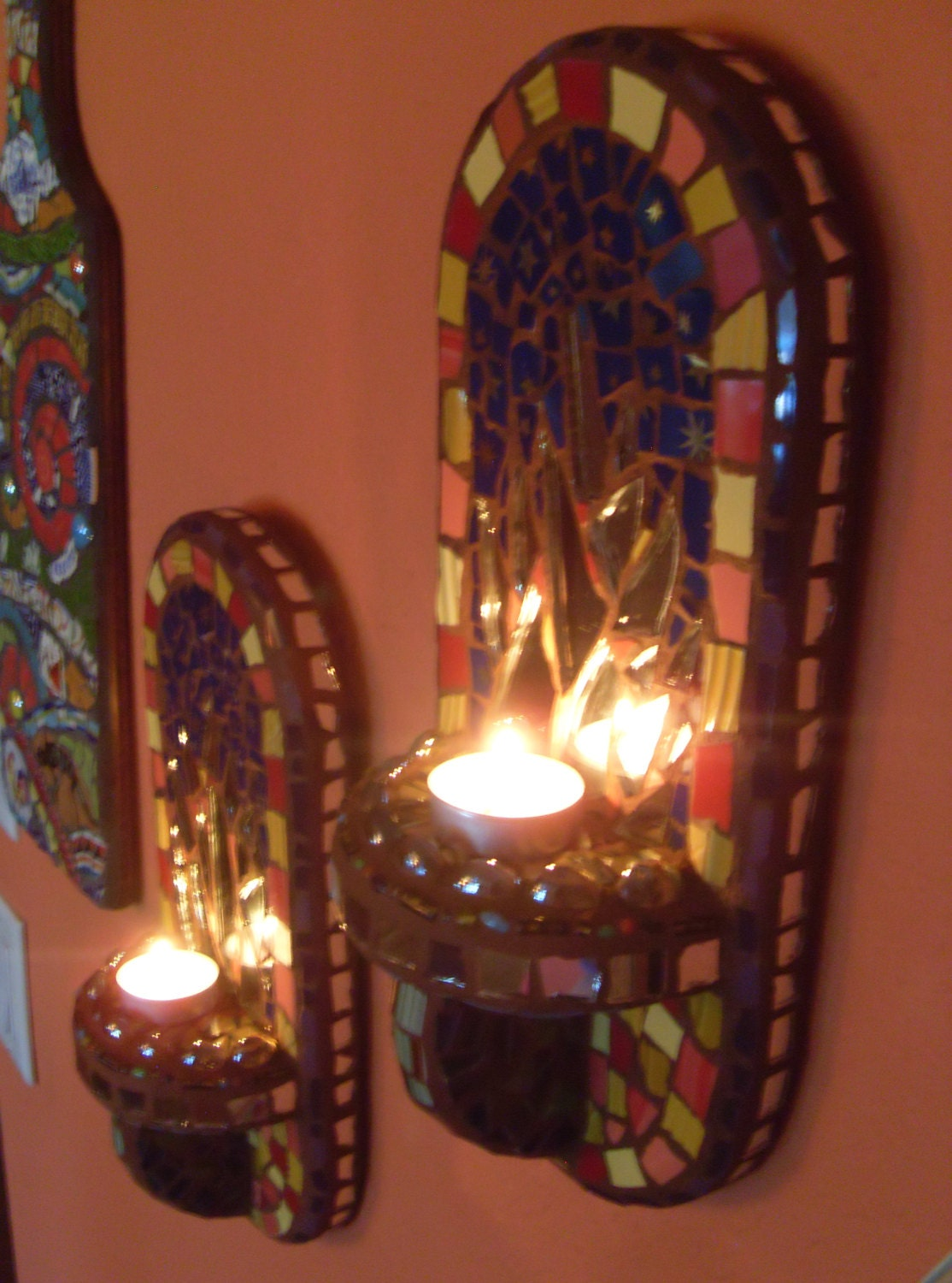Mexican Style Wall Sconces : 12 Tall Mosaic Art Mirror Wall Sconces Votive by DumbLadyMosaics