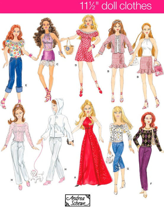 FASHION DOLL Clothes Sewing Pattern Barbie Dolls by patterns4you
