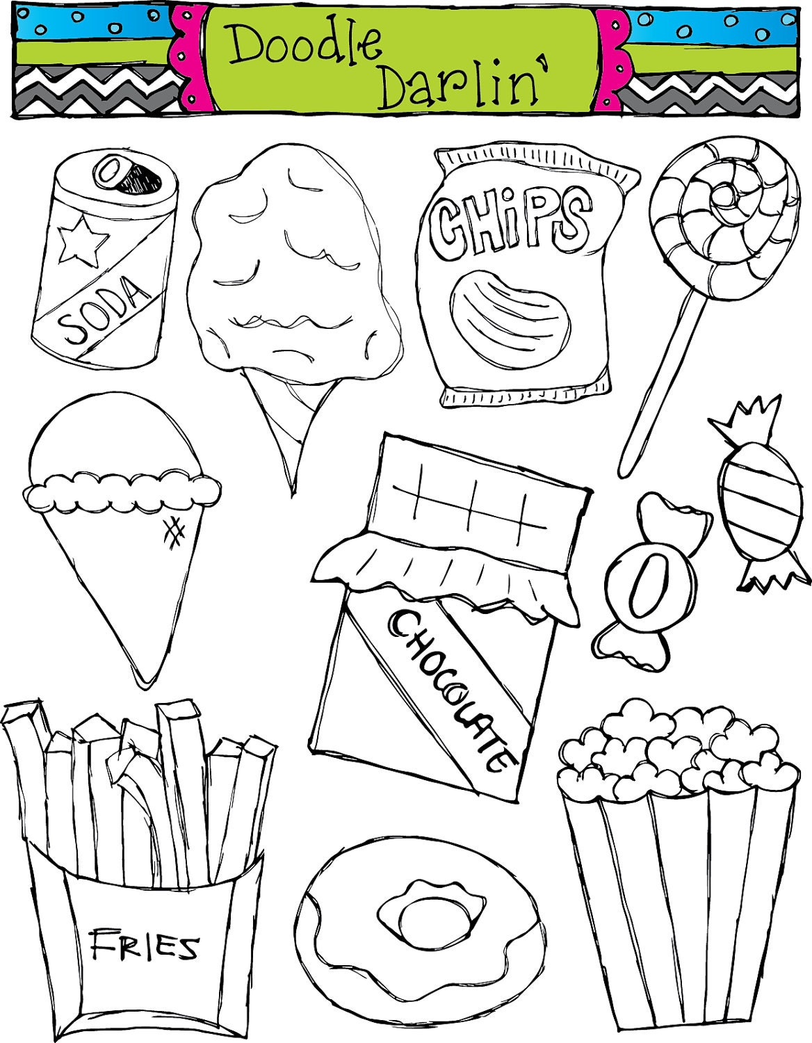 Junk Food Blackline Clipart Set INSTANT DOWNLOAD by DoodleDarlin