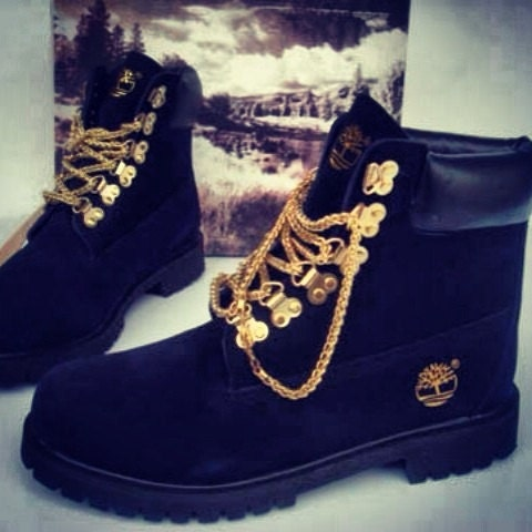 Custom black timberland boots with gold chain laces - Sneakerhead15