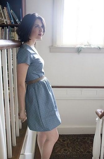 1950's Vintage Inspired Dress- Fitted short sleeve knee length dress