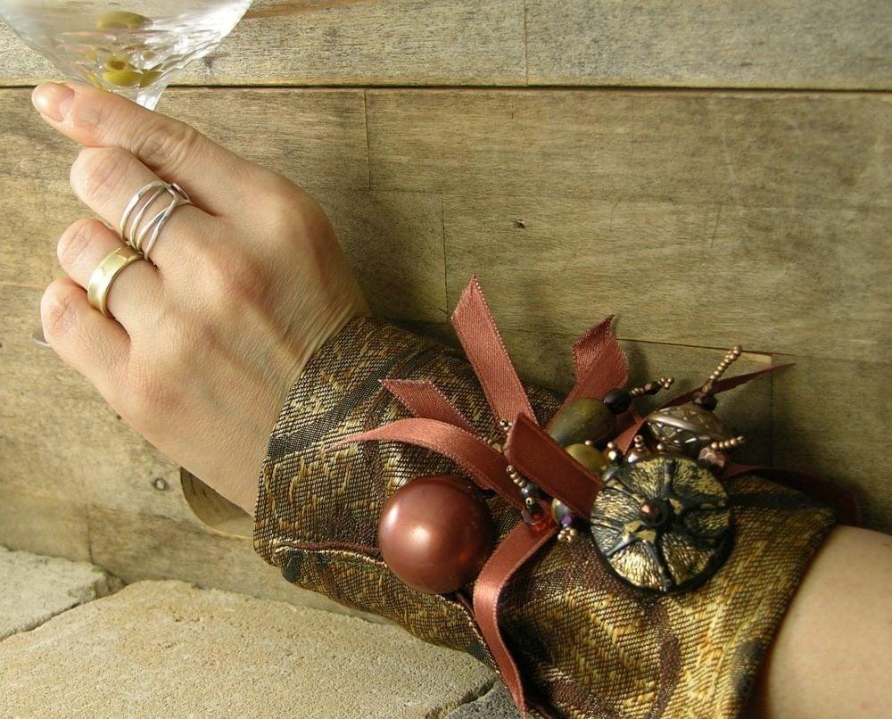 манжету в золото бронзовая многократно использовать парчи ленты кнопки бисером викторианской романтической стимпанк tbteam therougett