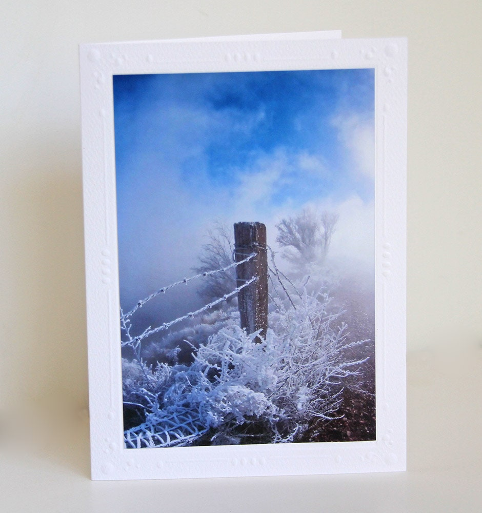 Fencepost in Snow Photo Greeting Card, Blank Notecard - CarolaBartz