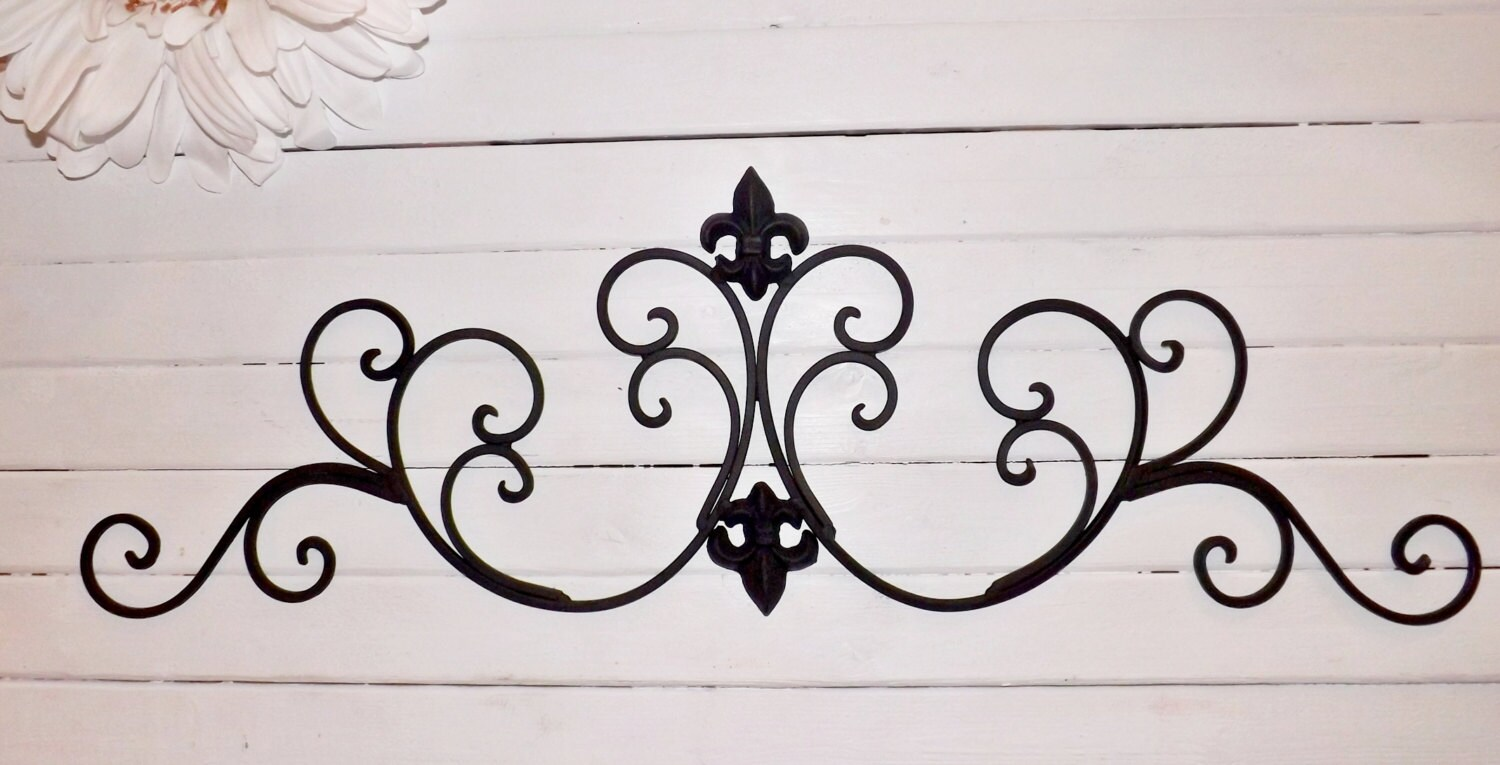 wrought iron fleur de lis wall decor shabby by. Black Bedroom Furniture Sets. Home Design Ideas