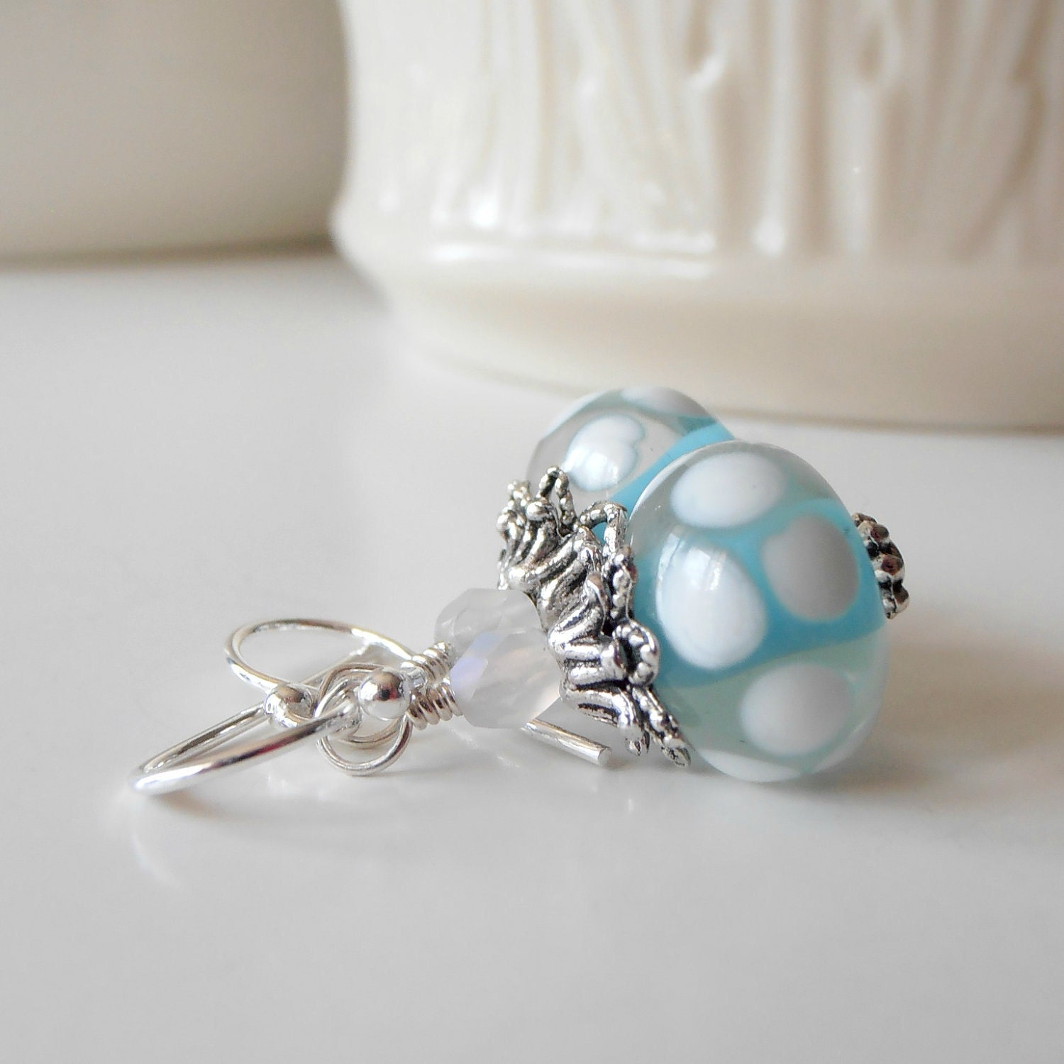 Beaded Jewelry Aqua Earrings White Polka Dot  ...